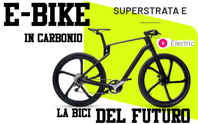 superstrata bike in carbonio telaio 3D unibody a pedalata assistita